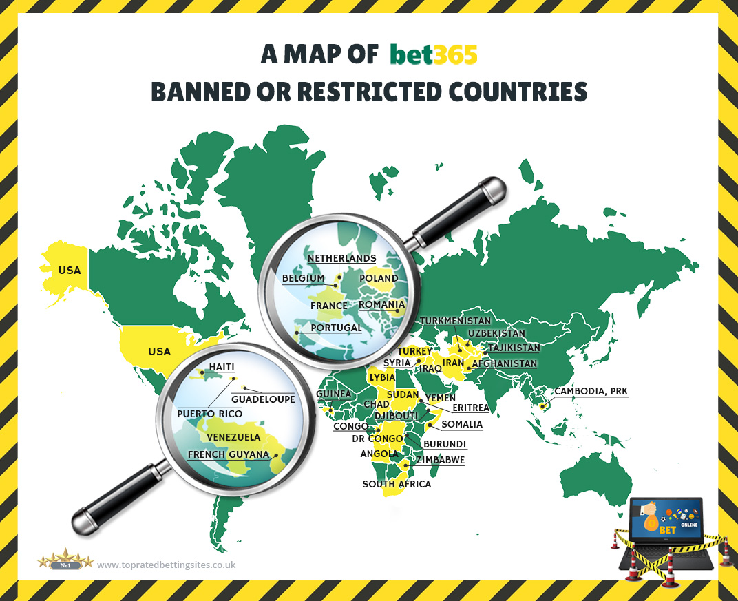 A map of all bet365 banned or restricted countries.
