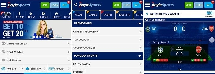 What markets does the Android app of Boylesports cover?