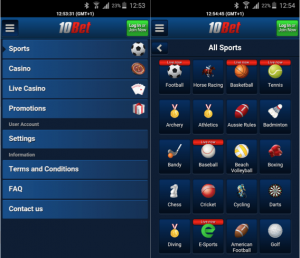 Use the betting features of the 10bet application!