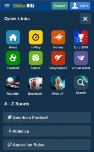 which sports does the mobile app of william hill support
